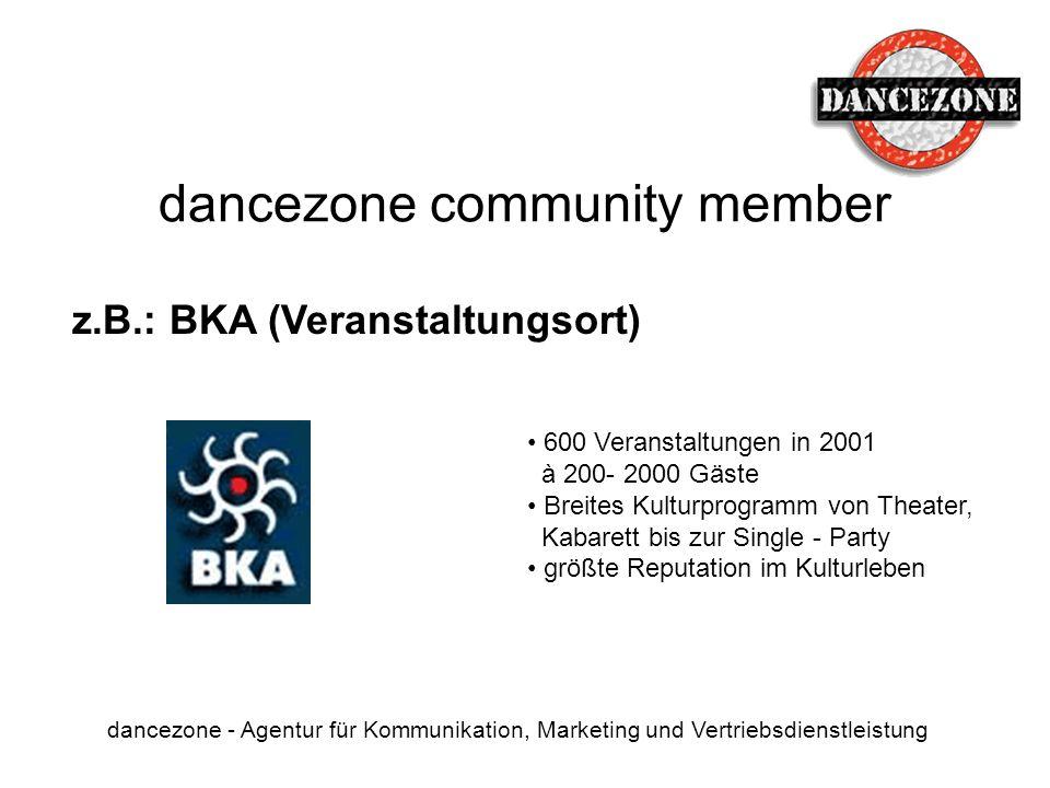 dancezone community member dancezone - Agentur für Kommunikation, Marketing und Vertriebsdienstleistung z.B.: BKA (Veranstaltungsort) 600 Veranstaltun
