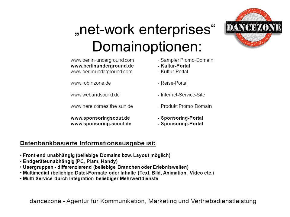 net-work enterprises Domainoptionen: dancezone - Agentur für Kommunikation, Marketing und Vertriebsdienstleistung www.berlin-underground.com- Sampler