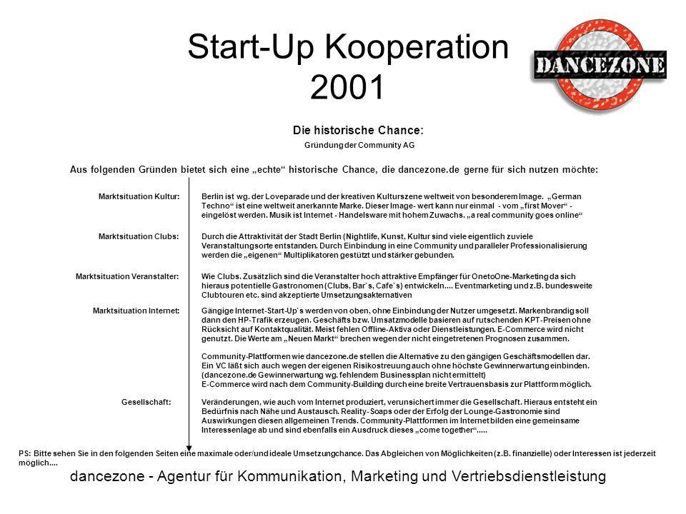 Start-Up Kooperation 2001 dancezone - Agentur für Kommunikation, Marketing und Vertriebsdienstleistung Die historische Chance: PS: Bitte sehen Sie in