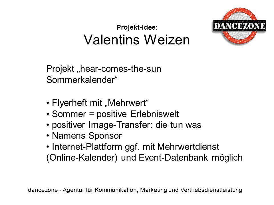Projekt-Idee: Valentins Weizen dancezone - Agentur für Kommunikation, Marketing und Vertriebsdienstleistung Projekt hear-comes-the-sun Sommerkalender