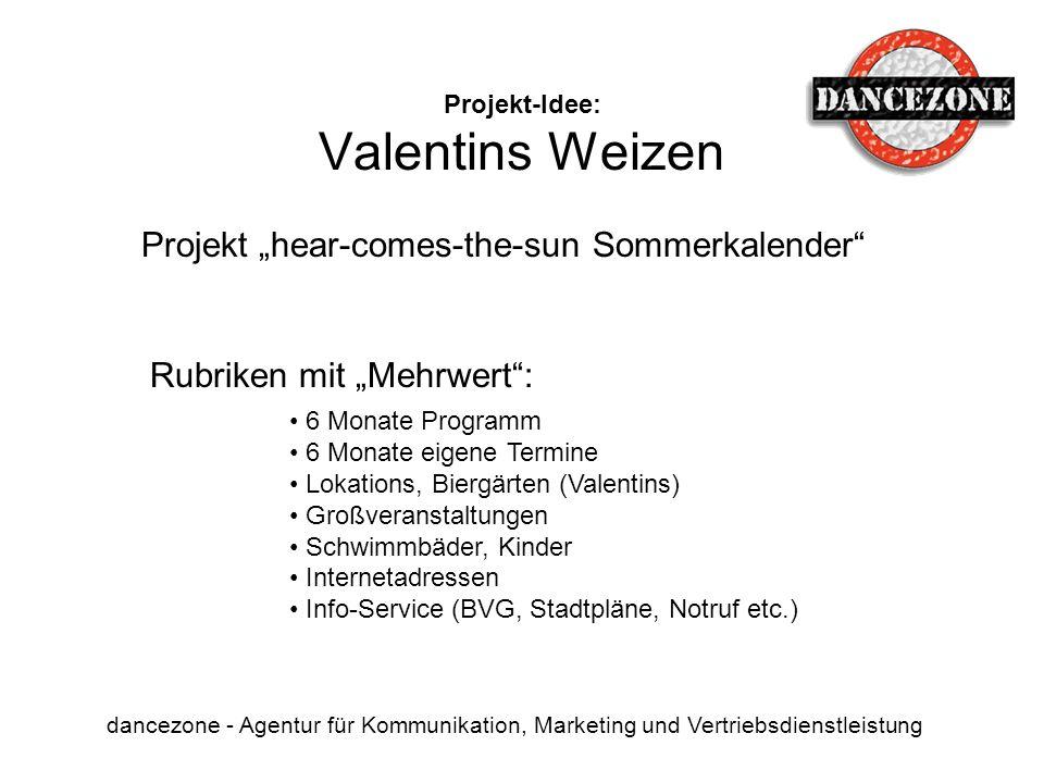Projekt-Idee: Valentins Weizen dancezone - Agentur für Kommunikation, Marketing und Vertriebsdienstleistung Rubriken mit Mehrwert: 6 Monate Programm 6