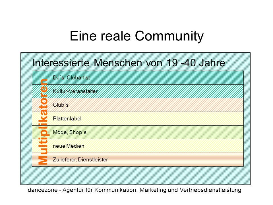 dancezone - Agentur für Kommunikation, Marketing und Vertriebsdienstleistung Club`s Multiplikatoren Eine reale Community Mode, Shop`s Plattenlabel neu