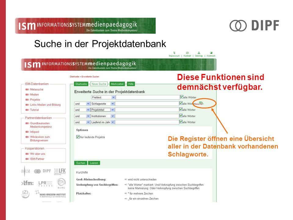 Die Register öffnen eine Übersicht aller in der Datenbank vorhandenen Schlagworte. Diese Funktionen sind demnächst verfügbar.