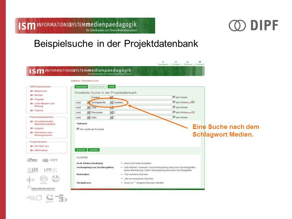 Beispielsuche in der Projektdatenbank Eine Suche nach dem Schlagwort Medien.
