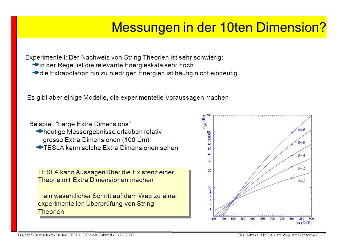 Ties Behnke: TESLA - ein Weg zur Weltformel? 17 Tag der Wissenschaft - Berlin: TESLA Licht der Zukunft - 13.02.2002 Messungen in der 10ten Dimension?