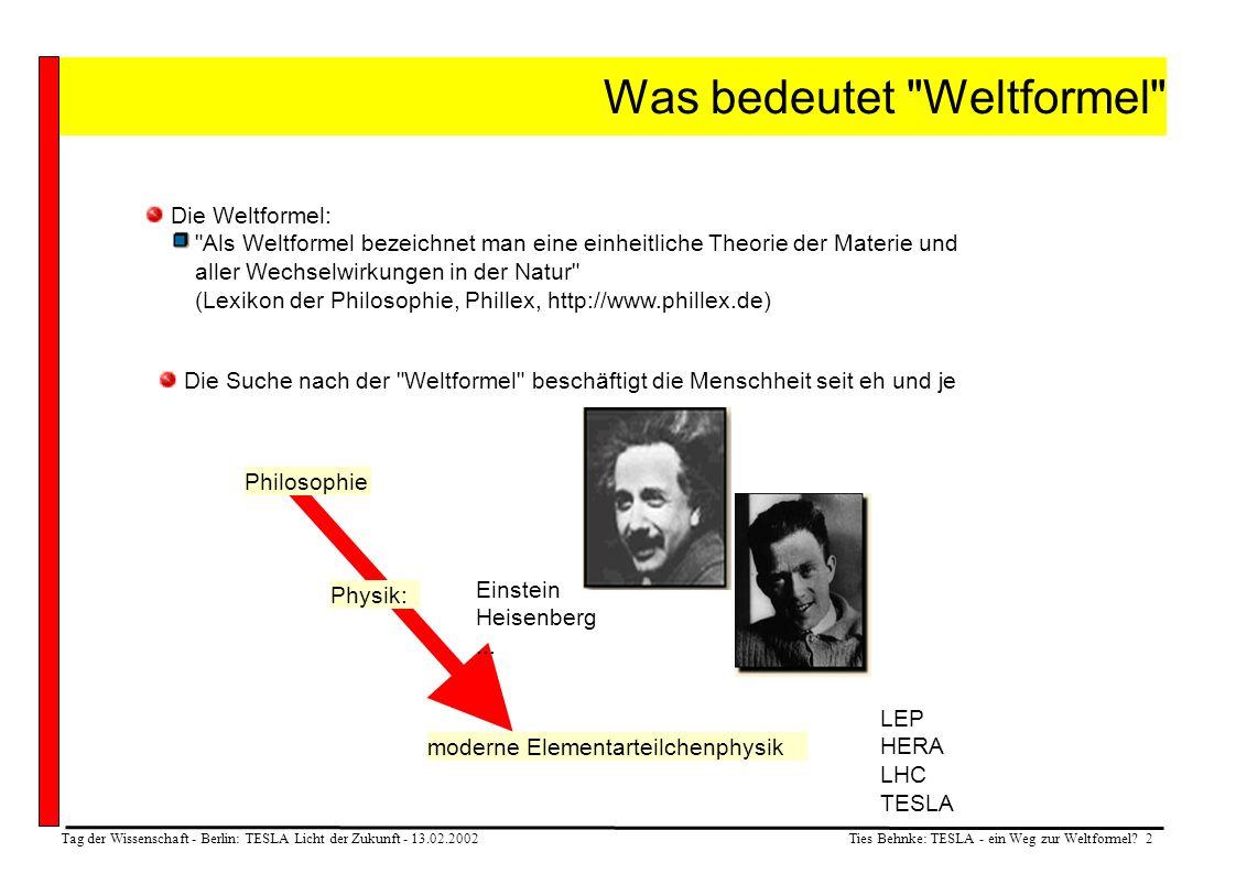 Ties Behnke: TESLA - ein Weg zur Weltformel? 2 Tag der Wissenschaft - Berlin: TESLA Licht der Zukunft - 13.02.2002 Was bedeutet