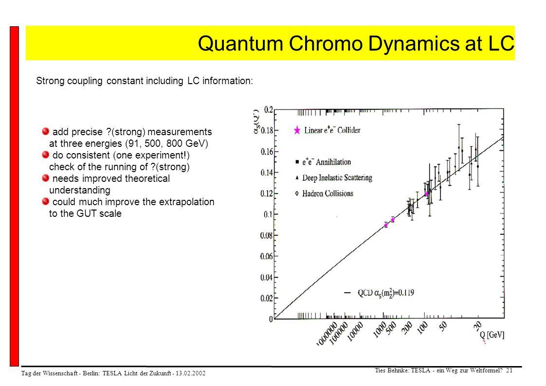 Tag der Wissenschaft - Berlin: TESLA Licht der Zukunft - 13.02.2002 Ties Behnke: TESLA - ein Weg zur Weltformel? 21 Quantum Chromo Dynamics at LC Stro