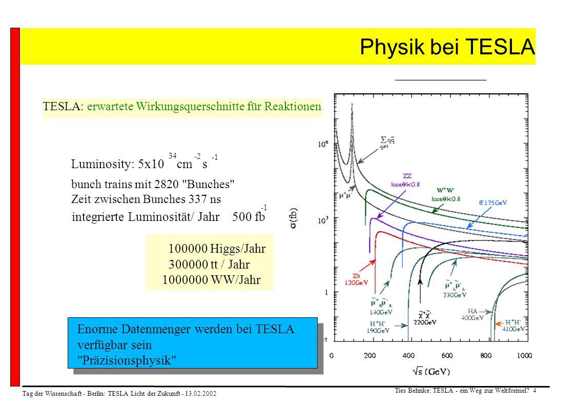 Tag der Wissenschaft - Berlin: TESLA Licht der Zukunft - 13.02.2002 Ties Behnke: TESLA - ein Weg zur Weltformel? 4 Physik bei TESLA TESLA: erwartete W