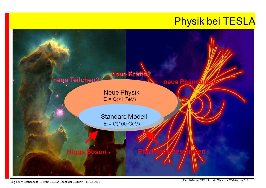 Tag der Wissenschaft - Berlin: TESLA Licht der Zukunft - 13.02.2002 Ties Behnke: TESLA - ein Weg zur Weltformel? 5 Physik bei TESLA Standard Modell Hi