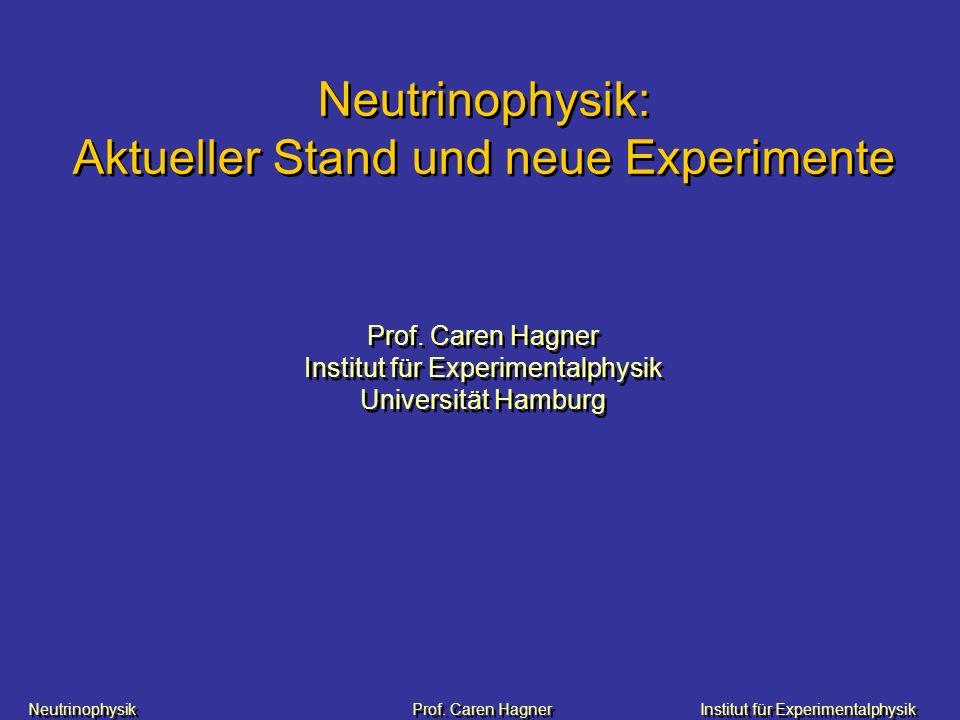 Neutrinophysik Prof. Caren HagnerInstitut für Experimentalphysik Neutrinophysik: Aktueller Stand und neue Experimente Prof. Caren Hagner Institut für