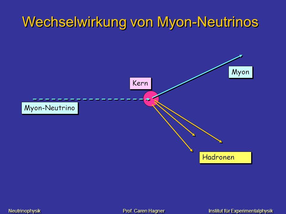 Neutrinophysik Prof. Caren HagnerInstitut für Experimentalphysik Wechselwirkung von Myon-Neutrinos Myon-Neutrino Myon Hadronen Kern