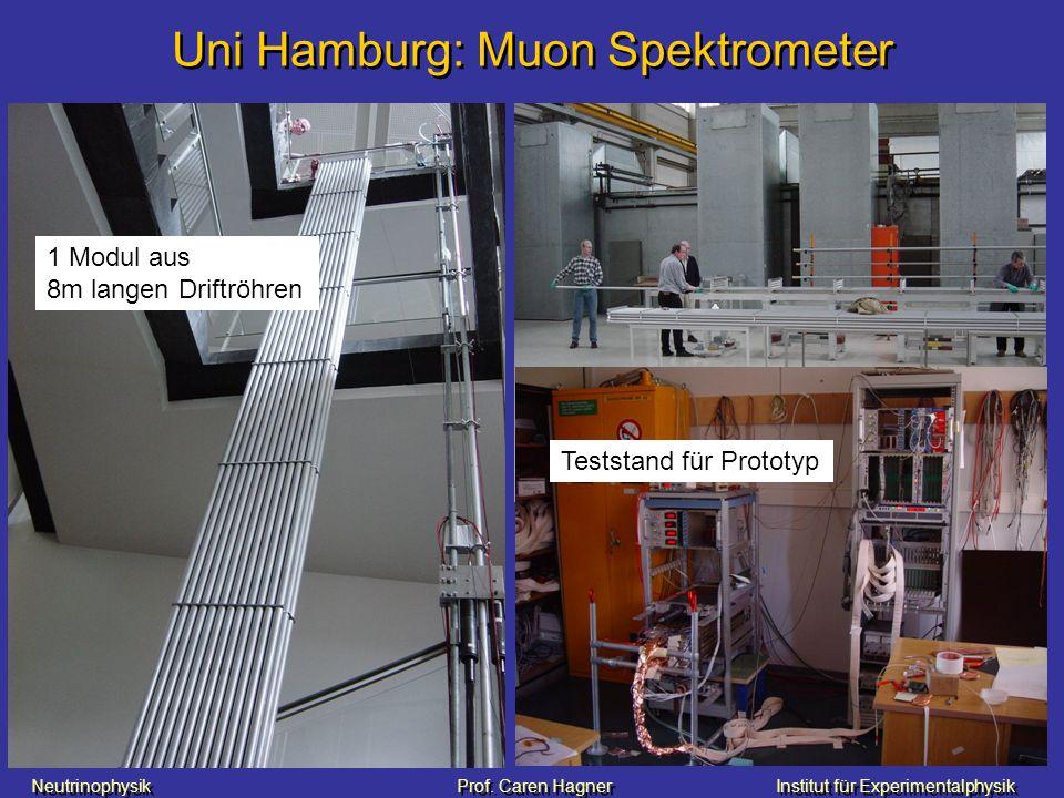 Neutrinophysik Prof. Caren HagnerInstitut für Experimentalphysik Uni Hamburg: Muon Spektrometer 1 Modul aus 8m langen Driftröhren Teststand für Protot