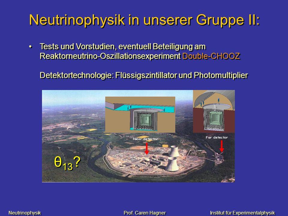 Neutrinophysik Prof. Caren HagnerInstitut für Experimentalphysik Neutrinophysik in unserer Gruppe II: Tests und Vorstudien, eventuell Beteiligung am R