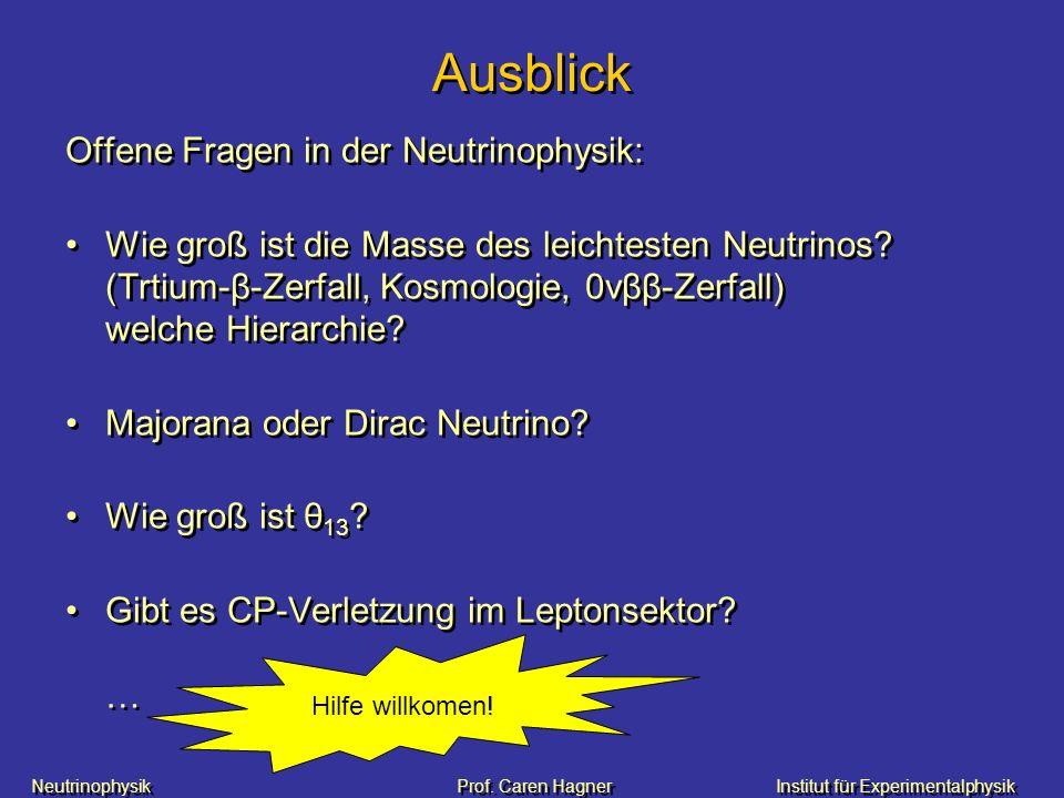 Neutrinophysik Prof. Caren HagnerInstitut für Experimentalphysik Ausblick Offene Fragen in der Neutrinophysik: Wie groß ist die Masse des leichtesten