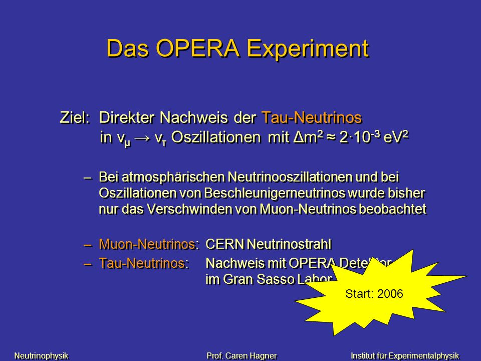 Neutrinophysik Prof. Caren HagnerInstitut für Experimentalphysik Das OPERA Experiment Ziel: Direkter Nachweis der Tau-Neutrinos in v μ v τ Oszillation