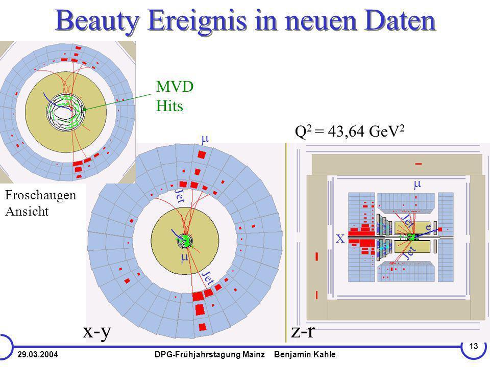 29.03.2004DPG-Frühjahrstagung Mainz Benjamin Kahle 13 Beauty Ereignis in neuen Daten e X Jet Q 2 = 43,64 GeV 2 x-yz-r Froschaugen Ansicht Jet MVD Hits