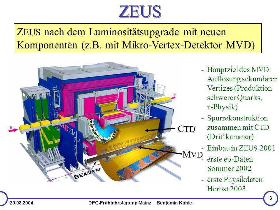 29.03.2004DPG-Frühjahrstagung Mainz Benjamin Kahle 3 ZEUS M VD C TD -Hauptziel des M VD : Auflösung sekundärer Vertizes (Produktion schwerer Quarks, -Physik) -Spurrekonstruktion zusammen mit C TD (Driftkammer ) -Einbau in Z EUS 2001 -erste ep-Daten Sommer 2002 -erste Physikdaten Herbst 2003 Z EUS nach dem Luminositätsupgrade mit neuen Komponenten (z.B.