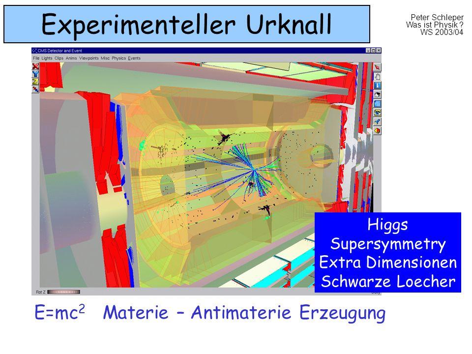 Peter Schleper Was ist Physik ? WS 2003/04 Experimenteller Urknall E=mc 2 Materie – Antimaterie Erzeugung Higgs Supersymmetry Extra Dimensionen Schwar