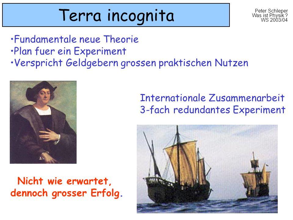 Peter Schleper Was ist Physik ? WS 2003/04 Terra incognita Internationale Zusammenarbeit 3-fach redundantes Experiment Nicht wie erwartet, dennoch gro