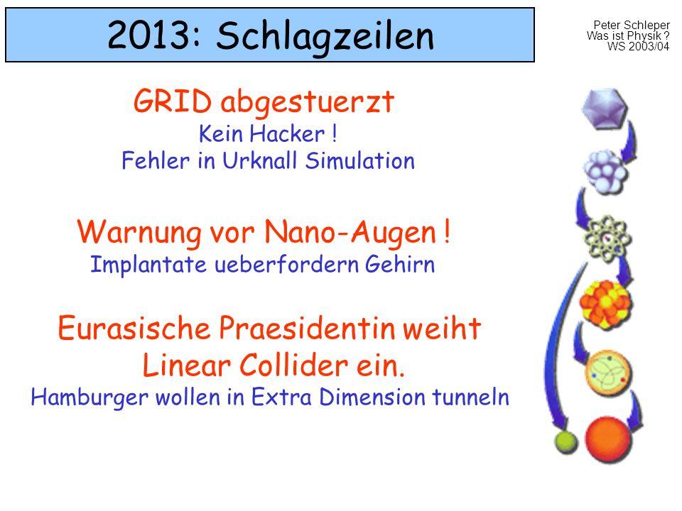 Peter Schleper Was ist Physik ? WS 2003/04 2013: Schlagzeilen GRID abgestuerzt Kein Hacker ! Fehler in Urknall Simulation Warnung vor Nano-Augen ! Imp