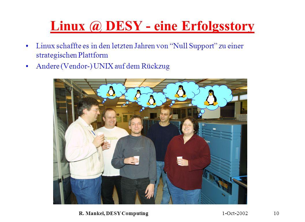 1-Oct-2002R. Mankel, DESY Computing10 Linux @ DESY - eine Erfolgsstory Linux schaffte es in den letzten Jahren von Null Support zu einer strategischen