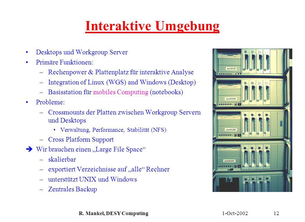 1-Oct-2002R. Mankel, DESY Computing12 Interaktive Umgebung Desktops und Workgroup Server Primäre Funktionen: –Rechenpower & Plattenplatz für interakti