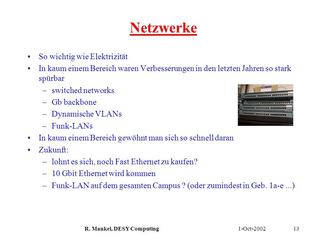 1-Oct-2002R. Mankel, DESY Computing13 Netzwerke So wichtig wie Elektrizität In kaum einem Bereich waren Verbesserungen in den letzten Jahren so stark