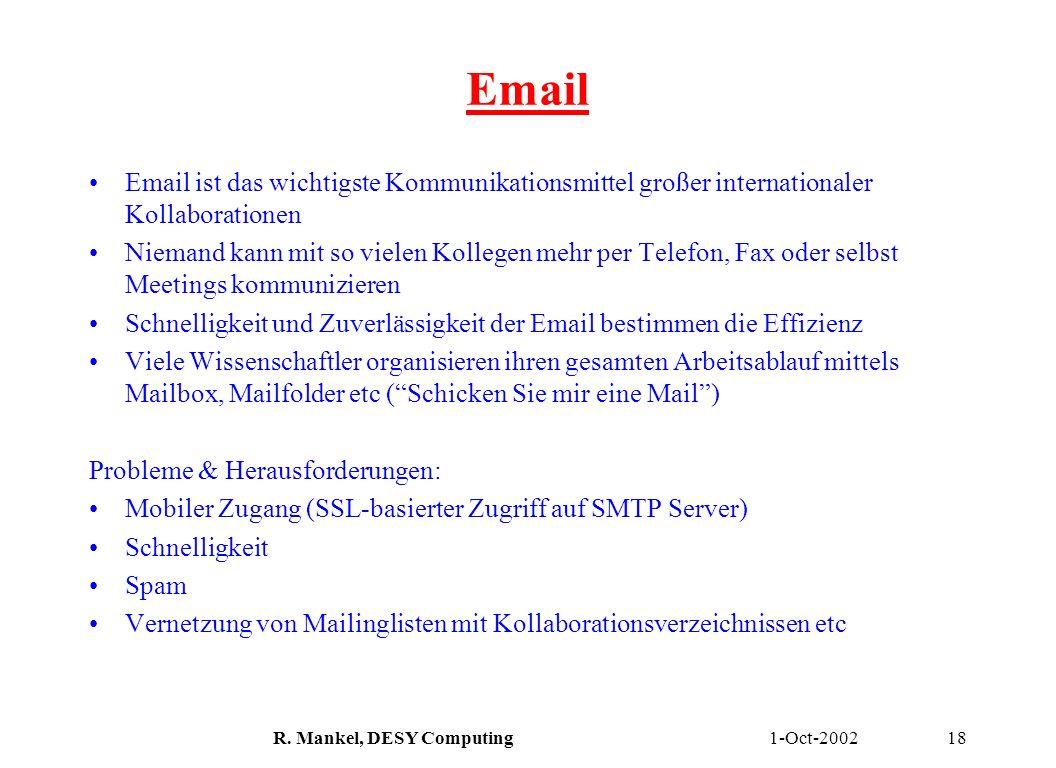1-Oct-2002R. Mankel, DESY Computing18 Email Email ist das wichtigste Kommunikationsmittel großer internationaler Kollaborationen Niemand kann mit so v