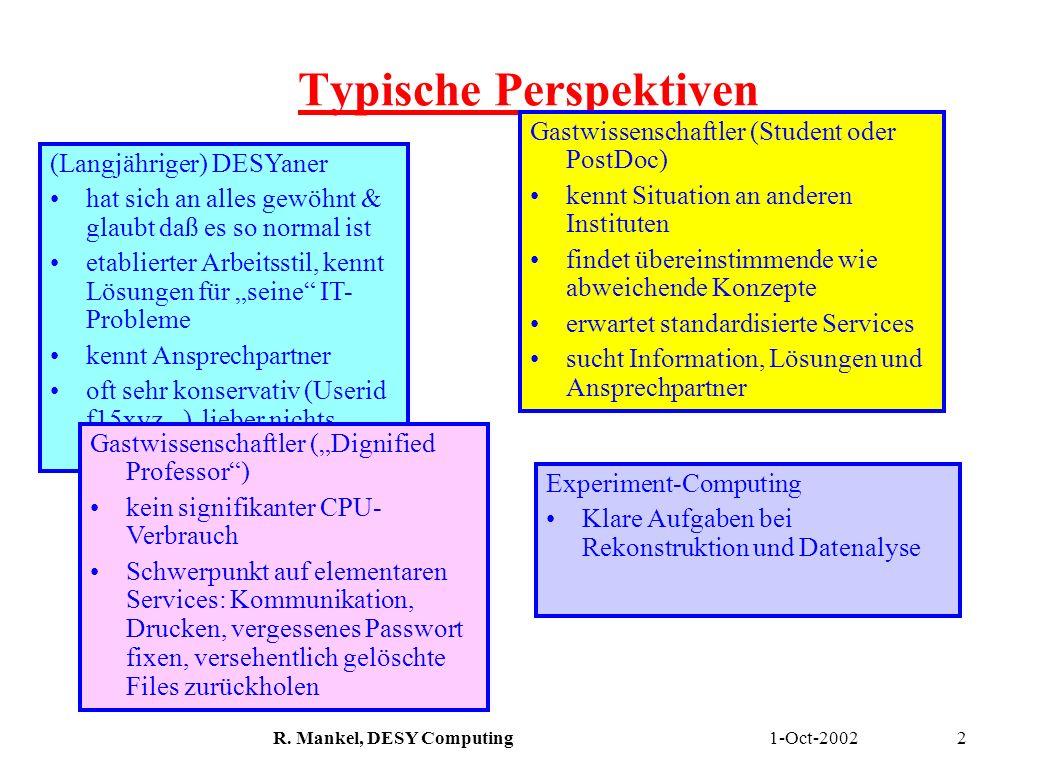 1-Oct-2002R. Mankel, DESY Computing2 Typische Perspektiven (Langjähriger) DESYaner hat sich an alles gewöhnt & glaubt daß es so normal ist etablierter