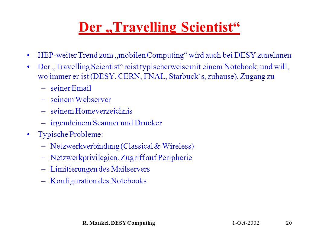 1-Oct-2002R. Mankel, DESY Computing20 Der Travelling Scientist HEP-weiter Trend zum mobilen Computing wird auch bei DESY zunehmen Der Travelling Scien
