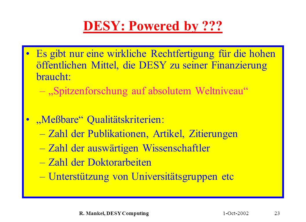 1-Oct-2002R. Mankel, DESY Computing23 DESY: Powered by ??? Es gibt nur eine wirkliche Rechtfertigung für die hohen öffentlichen Mittel, die DESY zu se