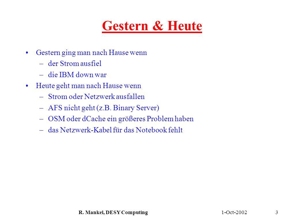 1-Oct-2002R. Mankel, DESY Computing3 Gestern & Heute Gestern ging man nach Hause wenn –der Strom ausfiel –die IBM down war Heute geht man nach Hause w