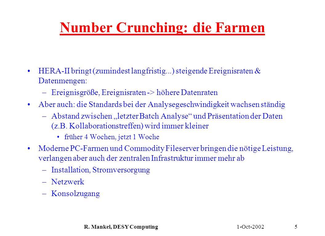 1-Oct-2002R. Mankel, DESY Computing5 Number Crunching: die Farmen HERA-II bringt (zumindest langfristig...) steigende Ereignisraten & Datenmengen: –Er