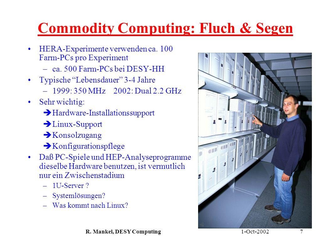 1-Oct-2002R. Mankel, DESY Computing7 Commodity Computing: Fluch & Segen HERA-Experimente verwenden ca. 100 Farm-PCs pro Experiment –ca. 500 Farm-PCs b