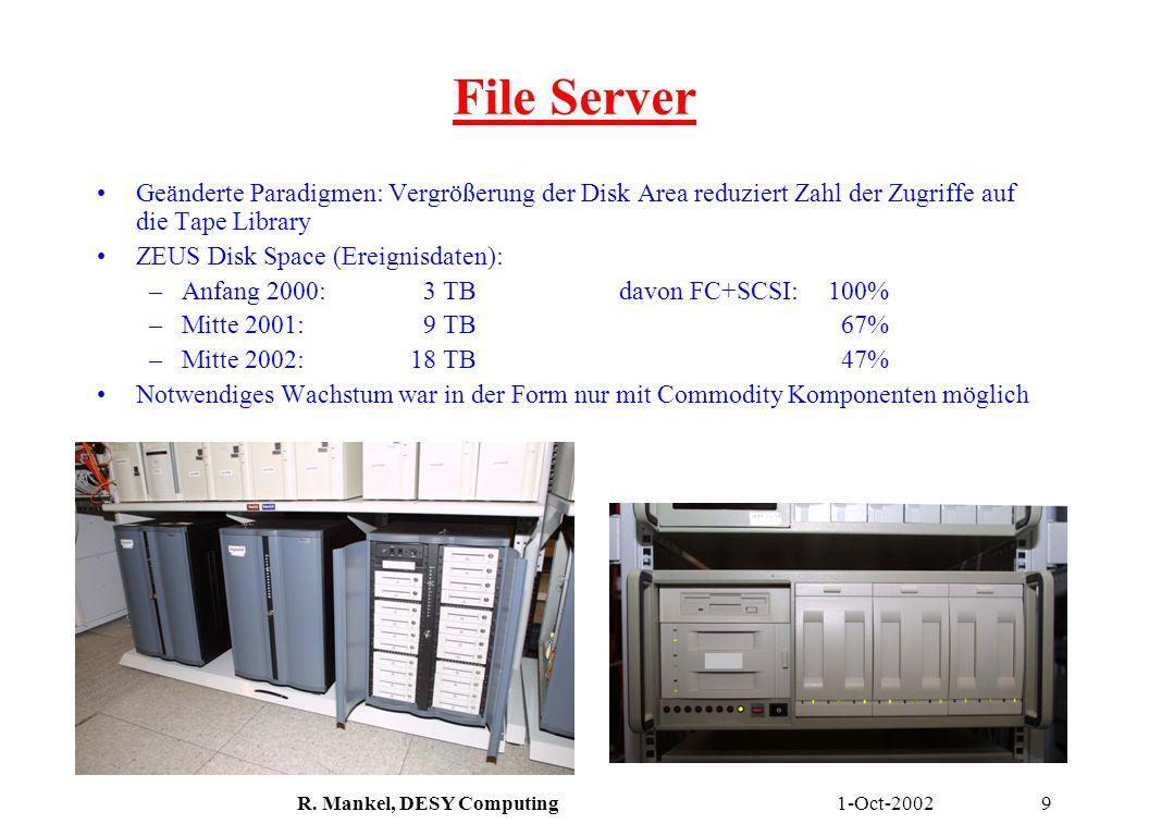 1-Oct-2002R. Mankel, DESY Computing9 File Server Geänderte Paradigmen: Vergrößerung der Disk Area reduziert Zahl der Zugriffe auf die Tape Library ZEU
