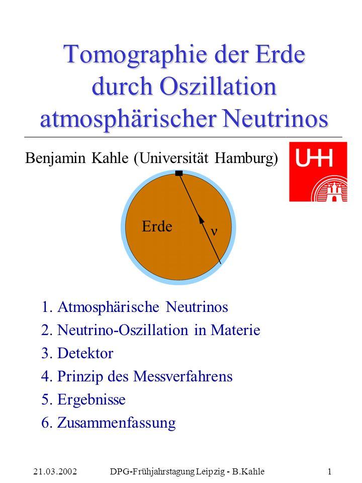 21.03.2002DPG-Frühjahrstagung Leipzig - B.Kahle1 Tomographie der Erde durch Oszillation atmosphärischer Neutrinos 1.