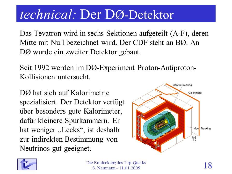 Die Entdeckung des Top-Quarks S. Naumann – 11.01.2005 18 technical: Der D Ø-Detektor Das Tevatron wird in sechs Sektionen aufgeteilt (A-F), deren Mitt