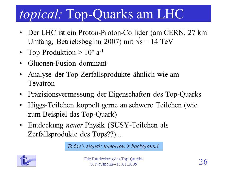Die Entdeckung des Top-Quarks S. Naumann – 11.01.2005 26 topical: Top-Quarks am LHC Der LHC ist ein Proton-Proton-Collider (am CERN, 27 km Umfang, Bet