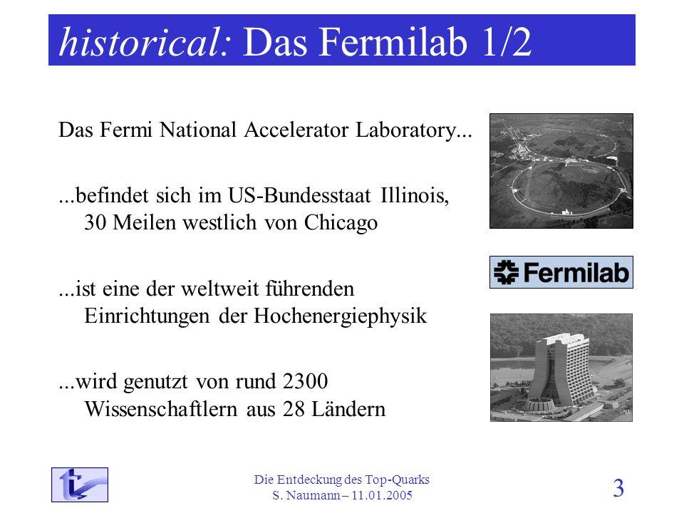 Die Entdeckung des Top-Quarks S. Naumann – 11.01.2005 3 historical: Das Fermilab 1/2 Das Fermi National Accelerator Laboratory......befindet sich im U