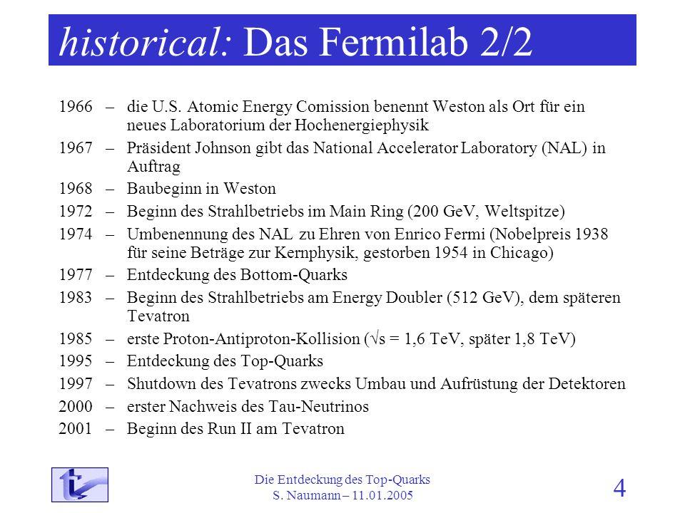 Die Entdeckung des Top-Quarks S. Naumann – 11.01.2005 4 historical: Das Fermilab 2/2 1966 – die U.S. Atomic Energy Comission benennt Weston als Ort fü