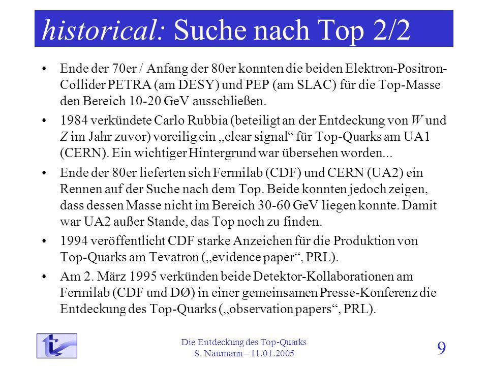 Die Entdeckung des Top-Quarks S. Naumann – 11.01.2005 9 historical: Suche nach Top 2/2 Ende der 70er / Anfang der 80er konnten die beiden Elektron-Pos