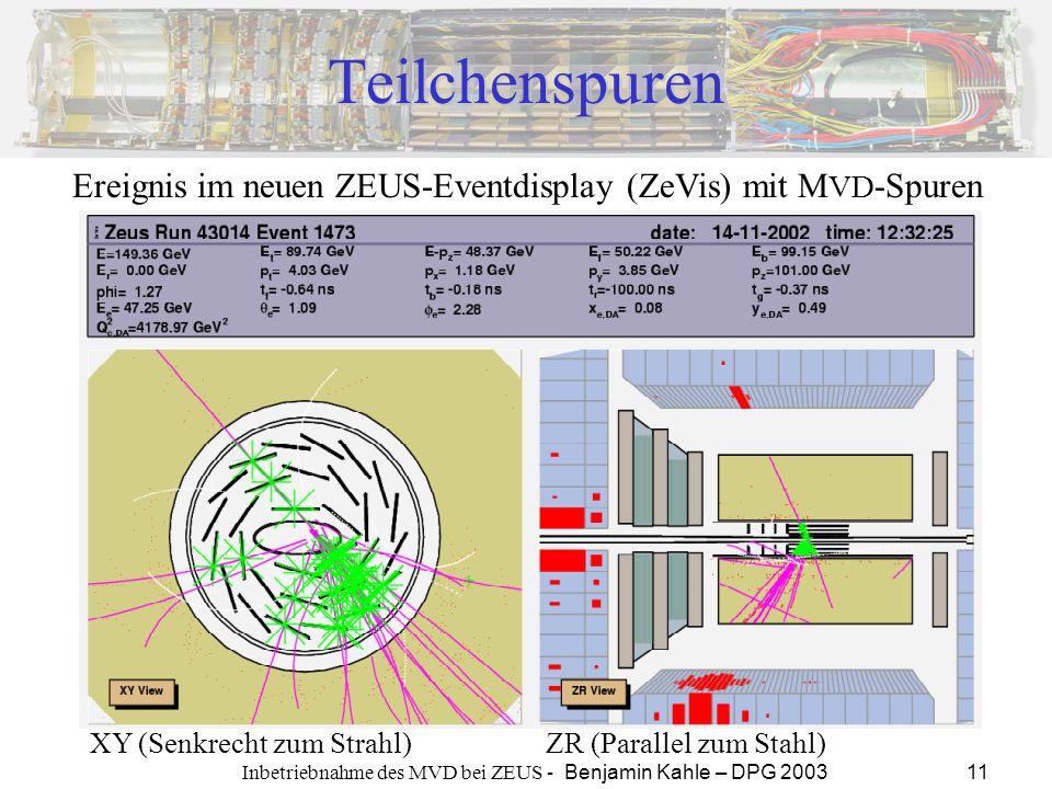 Inbetriebnahme des MVD bei ZEUS - Benjamin Kahle – DPG 2003 11 Teilchenspuren Ereignis im neuen ZEUS-Eventdisplay (ZeVis) mit M VD -Spuren XY (Senkrec