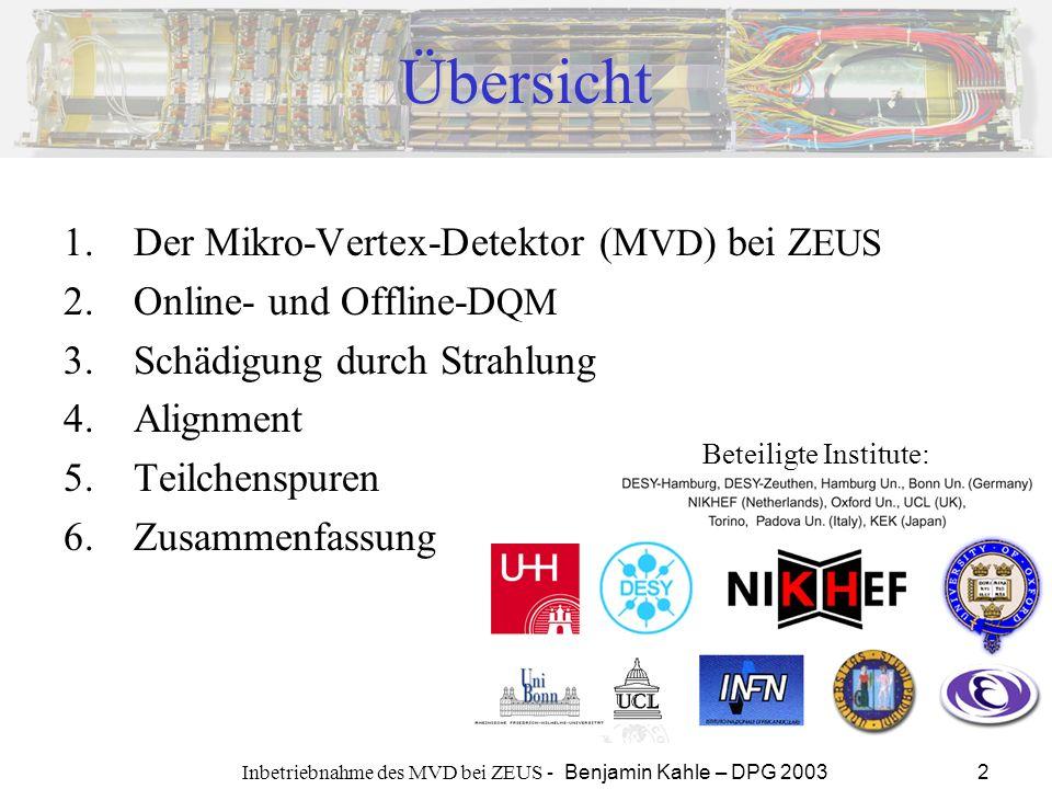 Inbetriebnahme des MVD bei ZEUS - Benjamin Kahle – DPG 2003 2 Übersicht 1.Der Mikro-Vertex-Detektor (M VD ) bei Z EUS 2.Online- und Offline-D QM 3.Sch