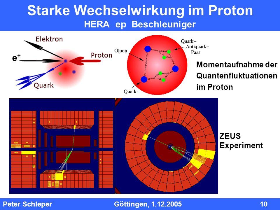 InhInh Peter Schleper Göttingen, 1.12.2005 10 Starke Wechselwirkung im Proton HERA ep Beschleuniger ZEUS Experiment e+e+ Momentaufnahme der Quantenflu