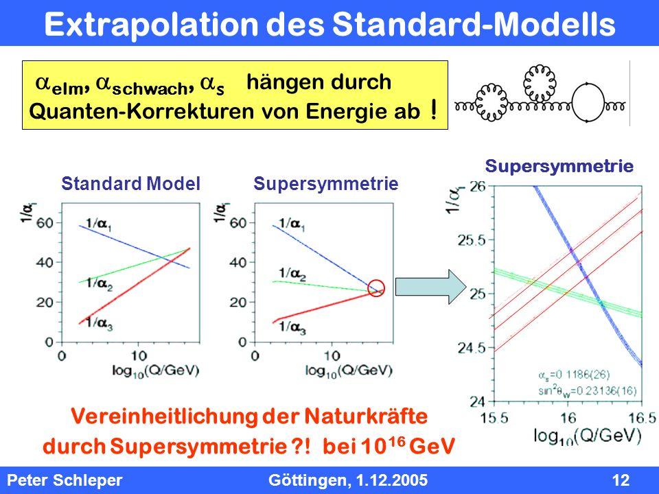 InhInh Peter Schleper Göttingen, 1.12.2005 12 Extrapolation des Standard-Modells elm, schwach, s hängen durch Quanten-Korrekturen von Energie ab ! Alp