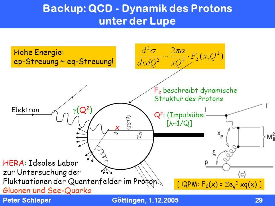 InhInh Peter Schleper Göttingen, 1.12.2005 29 Backup: QCD - Dynamik des Protons unter der Lupe F 2 beschreibt dynamische Struktur des Protons Q 2 : (I