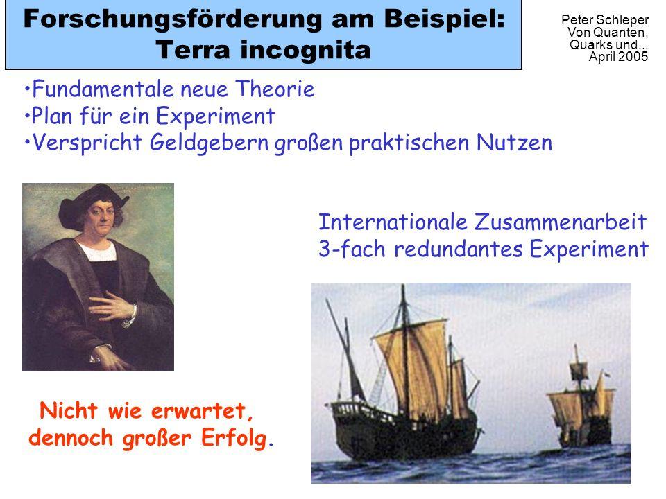 Peter Schleper Von Quanten, Quarks und... April 2005 Forschungsförderung am Beispiel: Terra incognita Internationale Zusammenarbeit 3-fach redundantes
