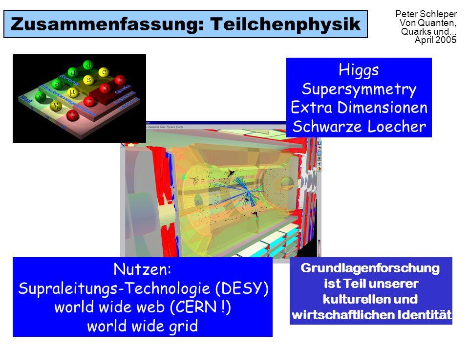 Peter Schleper Von Quanten, Quarks und... April 2005 Zusammenfassung: Teilchenphysik Higgs Supersymmetry Extra Dimensionen Schwarze Loecher Nutzen: Su