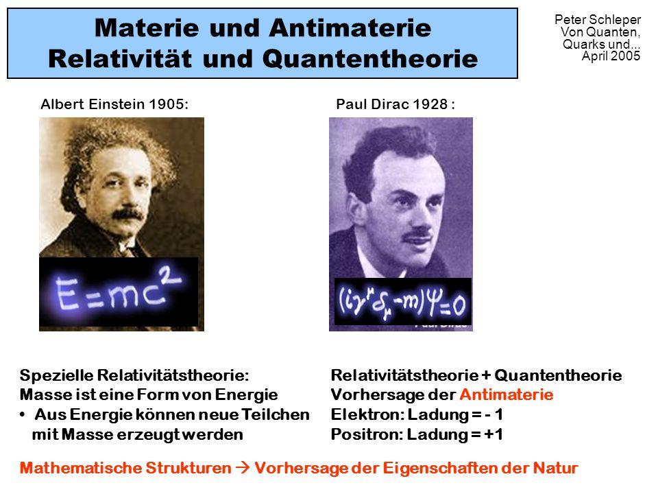 Peter Schleper Von Quanten, Quarks und... April 2005 Materie und Antimaterie Relativität und Quantentheorie Paul Dirac 1928 :Albert Einstein 1905: Spe