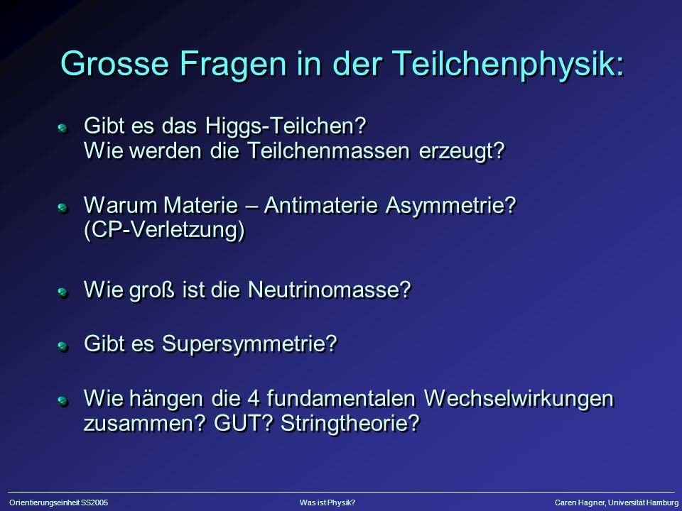 Orientierungseinheit SS2005Was ist Physik?Caren Hagner, Universität Hamburg Grosse Fragen in der Teilchenphysik: Gibt es das Higgs-Teilchen? Wie werde